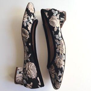 {Zara} Floral Brocade Low Block Heels Size 42